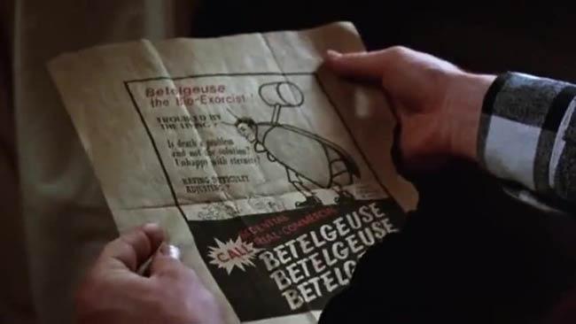 Volantino di Betelguese il bio esorcista. Dal film Beetlejuice