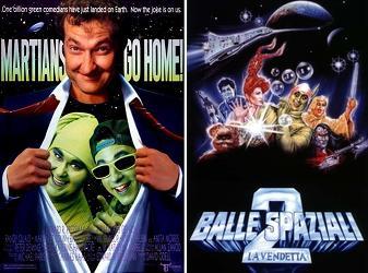 Locandina italiana di Balle spaziali 2 la vendetta a confronto con l'originale Martians go home