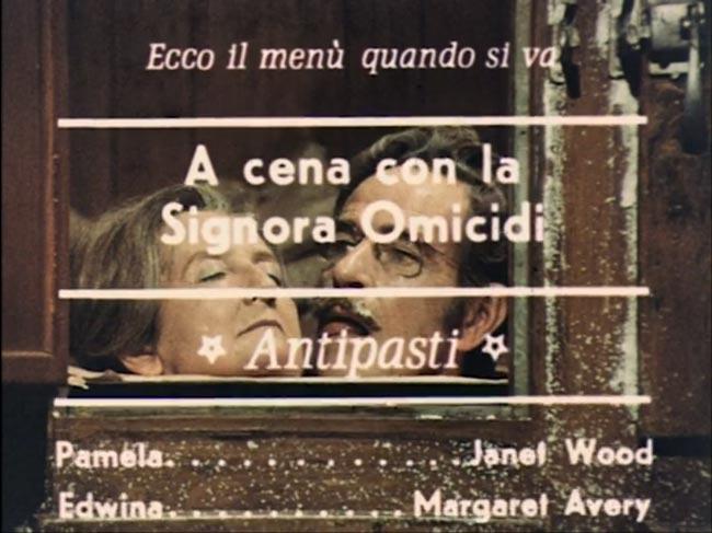 Titoli di coda del film A cena con la signora omicidi, da pellicola originale