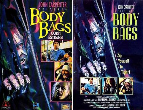 Locandina italiana e inglese di Body Bags corpi estranei 1993 di John Carpenter