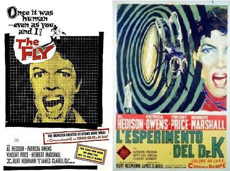 Locandina di The Fly del 1958, tradotto in italiano come L'esperimento del dottor k