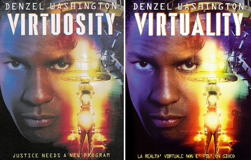 Locandina italiana e americana di Virtuality, titolo originale Virtuosity