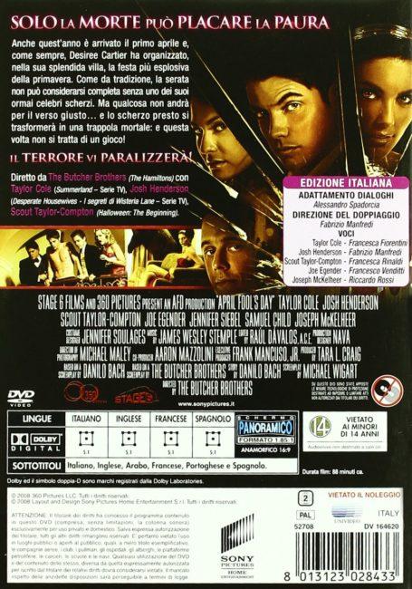 retro del DVD italiano di Scherzo letale dove compare il cast di doppiatori