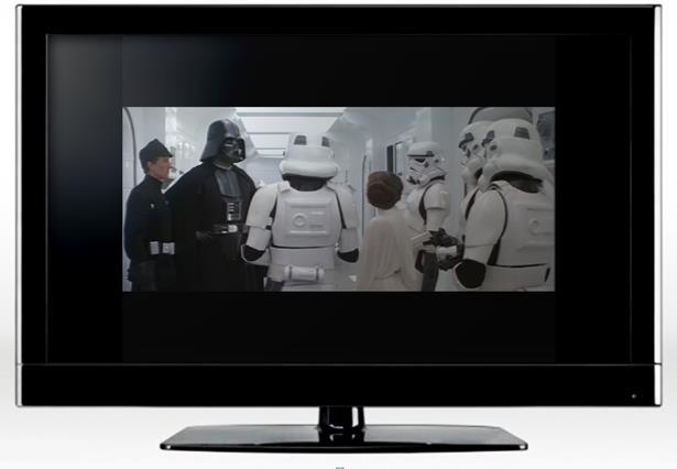Fotogramma di Guerre stellari in formato Letterbox su schermo panoramico 16:9