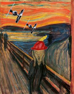 Urlo di Munch con TIE Fighter e cappello tirolese