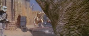 Una scena in CGI dalle edizioni speciali di Guerre stellari del 1997, il ronto che copre i protagonisti