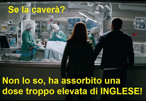 Nick Fury all'ospedale in Captain America The Winter Soldier con vignetta sull'eccesso di inglese