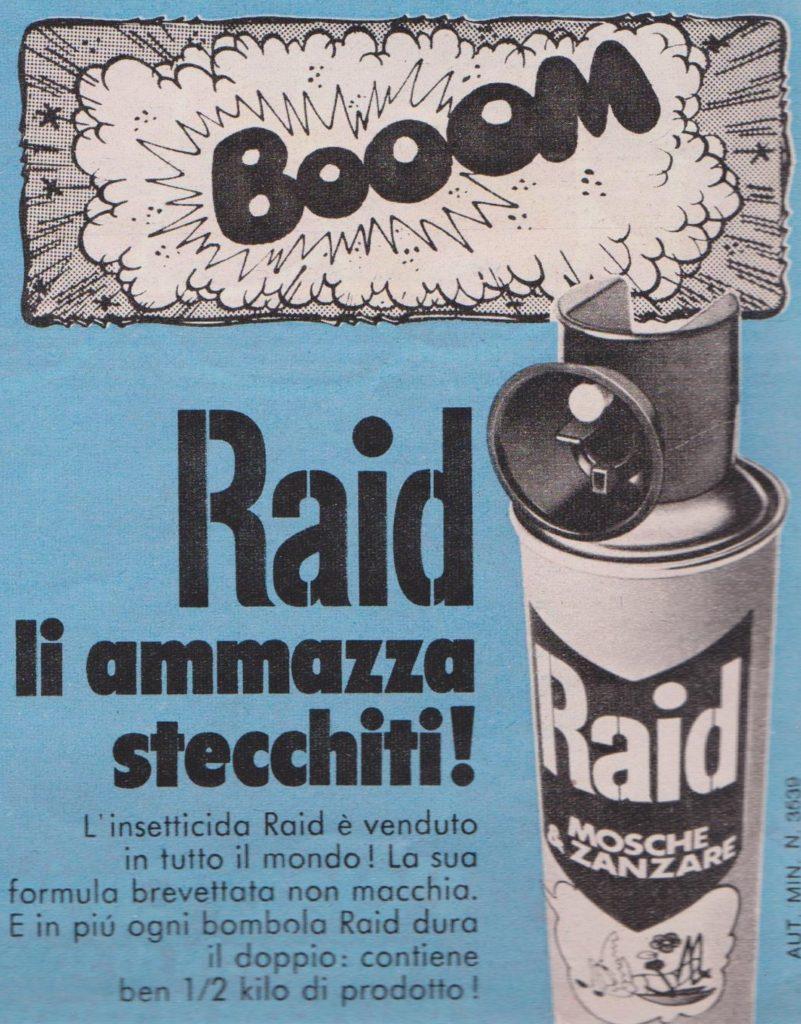 Vecchia pubblicità di uno spray per insetti di nome Raid