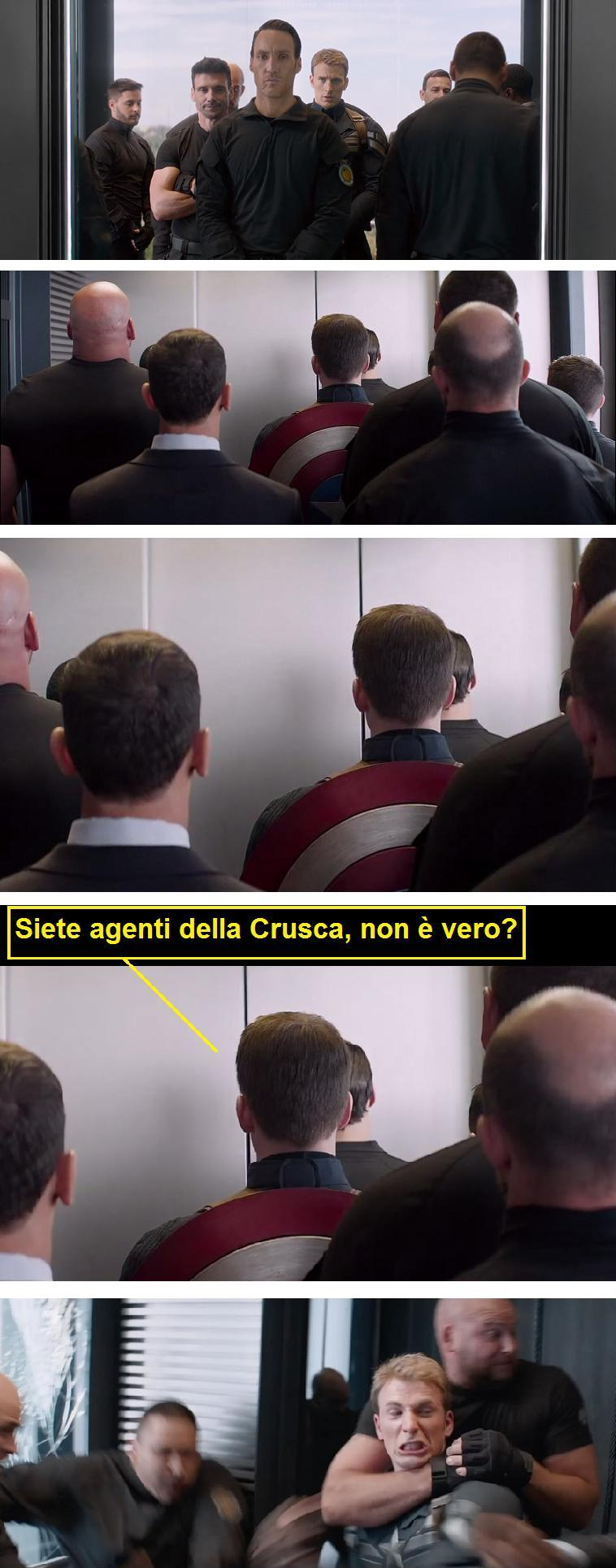 L'arresto di Captain America vignetta sugli agenti della Crusca