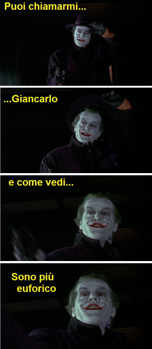 Vignetta sul Joker di Giancarlo Giannini in Batman 1989