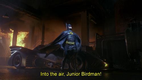 Vola vola vola... topo uccello. Battuta dal doppiaggio di Batman 1989