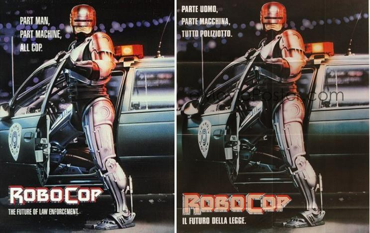 Robocop (1987) Locandina italiana e locandina originale a confronto