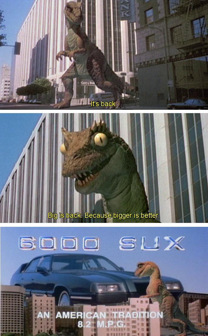 Pubblicità della SUX 6000 con il dinosauro in stop-motion, dal film Robocop 1987