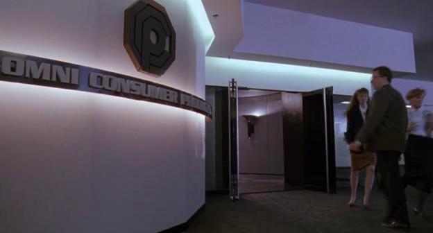 Omni Consumer Products logo nel quartier generale OCP di Robocop 3
