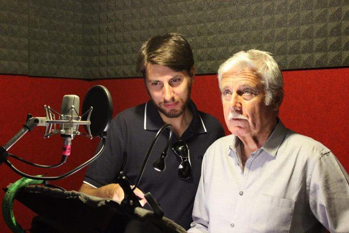 Piero Castiglia con Sergio Di Giulio in sala di doppiaggio