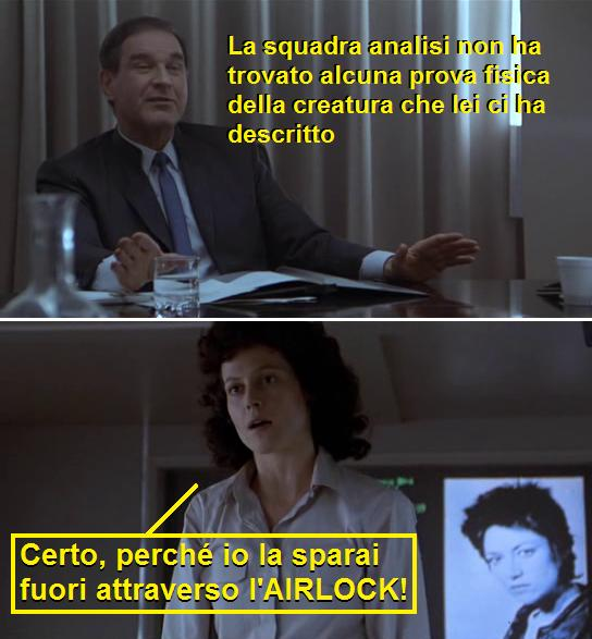 Vignetta con scene dal film Aliens (1986) dove la parola airlock viene lasciata in inglese