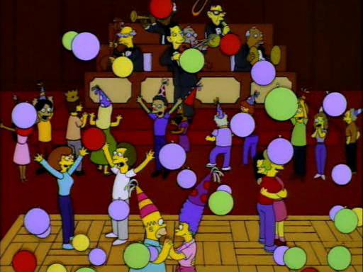 scena della festa di capodanno nel parco di Grattachecca e Fighetto, dai Simpson