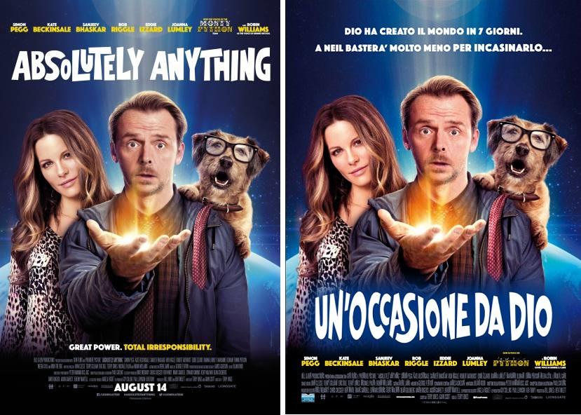 Un'occasione da Dio, locandina italiana a confronto con il poster originale di Absolutely Anything