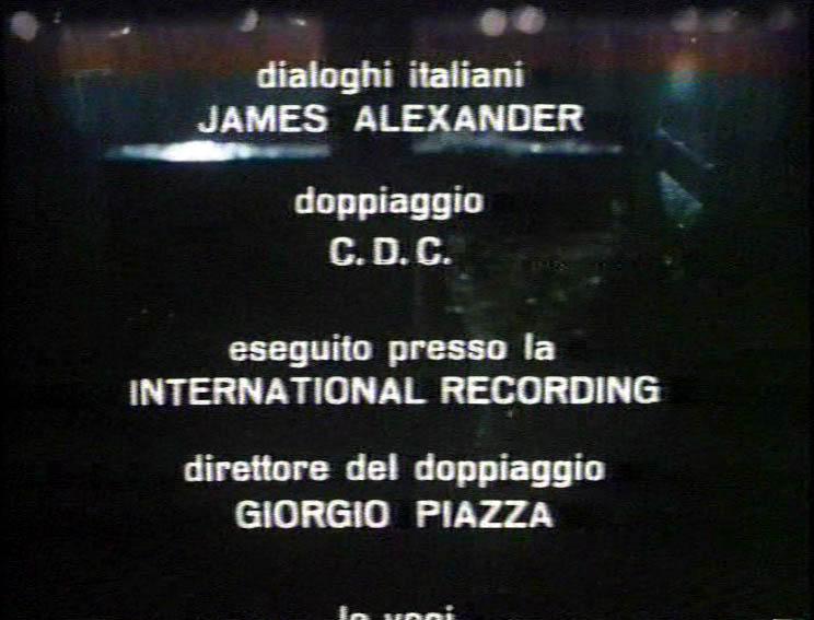Titoli di coda sul doppiaggio di Il ritorno dei morti viventi 1985, CDC diretto da Giorgio Piazza, dialoghi di James Alexander