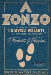 a zonzo, copertina dello spartito dal film I diavoli volanti