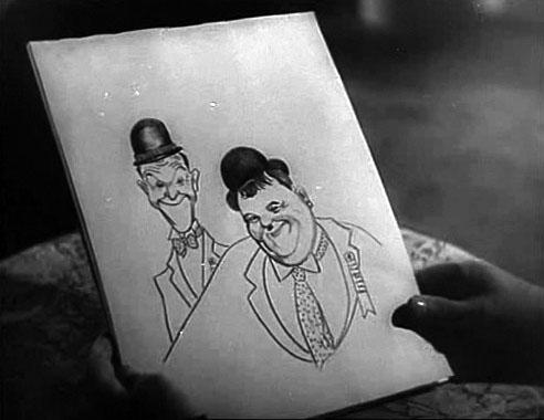 ritratto di Stanlio e Ollio da una scena di I diavoli volanti