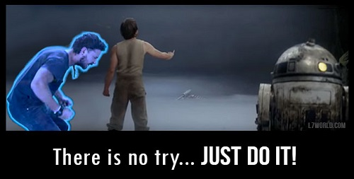 There is no try, just do it. Meme del video motivazionale di Shia La Beouf che compare a Luke Skywalker come fantasma mentre Luke cerca di sollevare l'X-Wing dalla palude