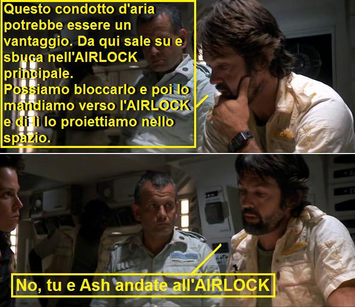 vignetta sulla parola AIRLOCK inserita in Alien del 1979