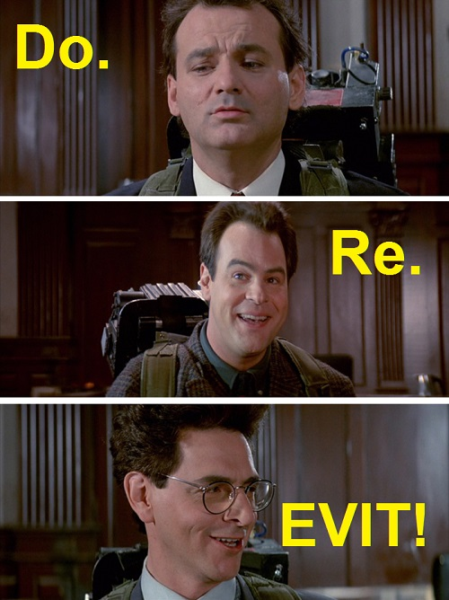 Scena di Ghostbusters II dove i protagonisti dicono do-re-Egon ma nella vignetta alterato in do-re-Evit