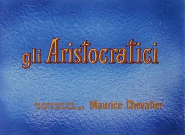 """Titolazione italiana del film Gli Aristogatti, scritta che legge """"Gli aristocratici"""""""