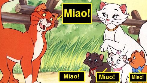 """Vignetta con i protagonisti del film """"Gli Aristogatti"""" che dicono """"miao"""""""