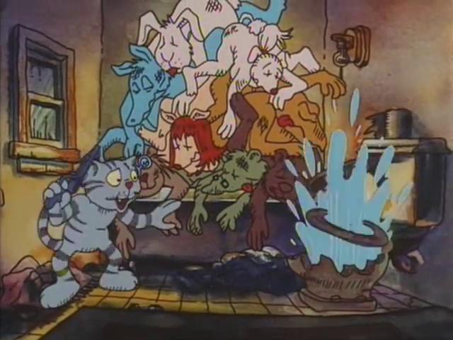 Scena di Fritz il gatto con doppiaggio dialettale, il gatto Fritz spara al cesso dopo aver rubato la pistola al poliziotto