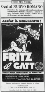 Locandina pubblicitaria italiana di Fritz il gatto (1972), distribuzione Medusa