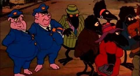 Scena di Fritz il gatto, poliziotti maiali che si avvicinano alla folla