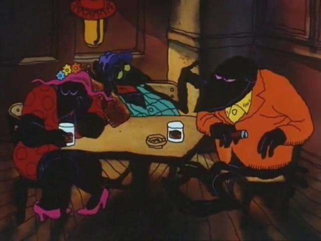 Scena di Fritz il gatto, corvi che discutono al bar