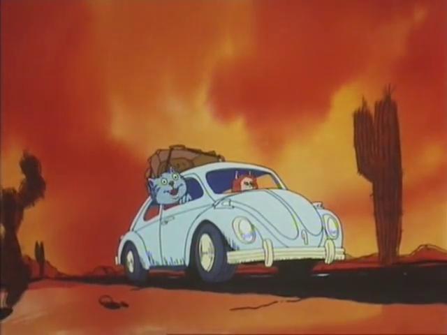 il gatto, Fritz in viaggio in auto con la fidanzata