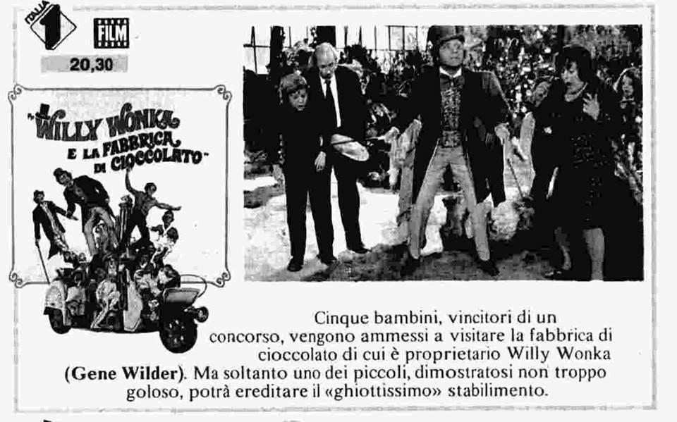 Willy Wonka trasmissione televisiva datata 21 giugno 1988, annunciata dal Radio Corriere