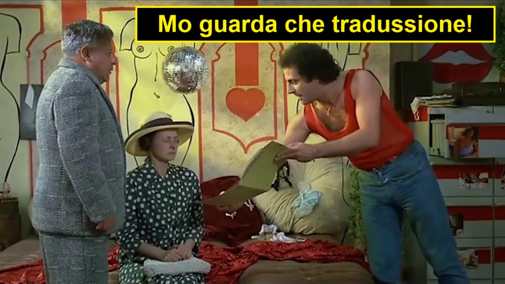 Andrea Roncato come Loris Batacchi nel film Fantozzi subisce ancora, la vignetta legge: mo guarda che traduzione