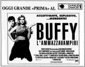 Locandina cinematografica italiana di Buffy l'ammazzavampiri, film del 1992 uscito in Italia il 25 febbraio 1994