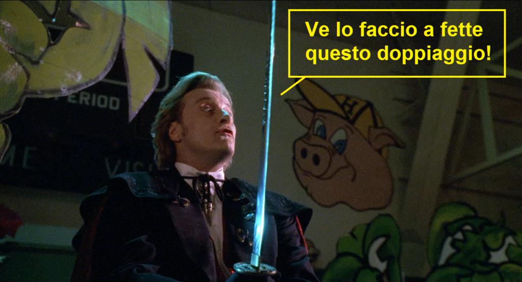 Rutger Hauer con spada samurai in Buffy l'ammazzavampiri, la vignetta legge: ve lo faccio a pezzi questo doppiaggio