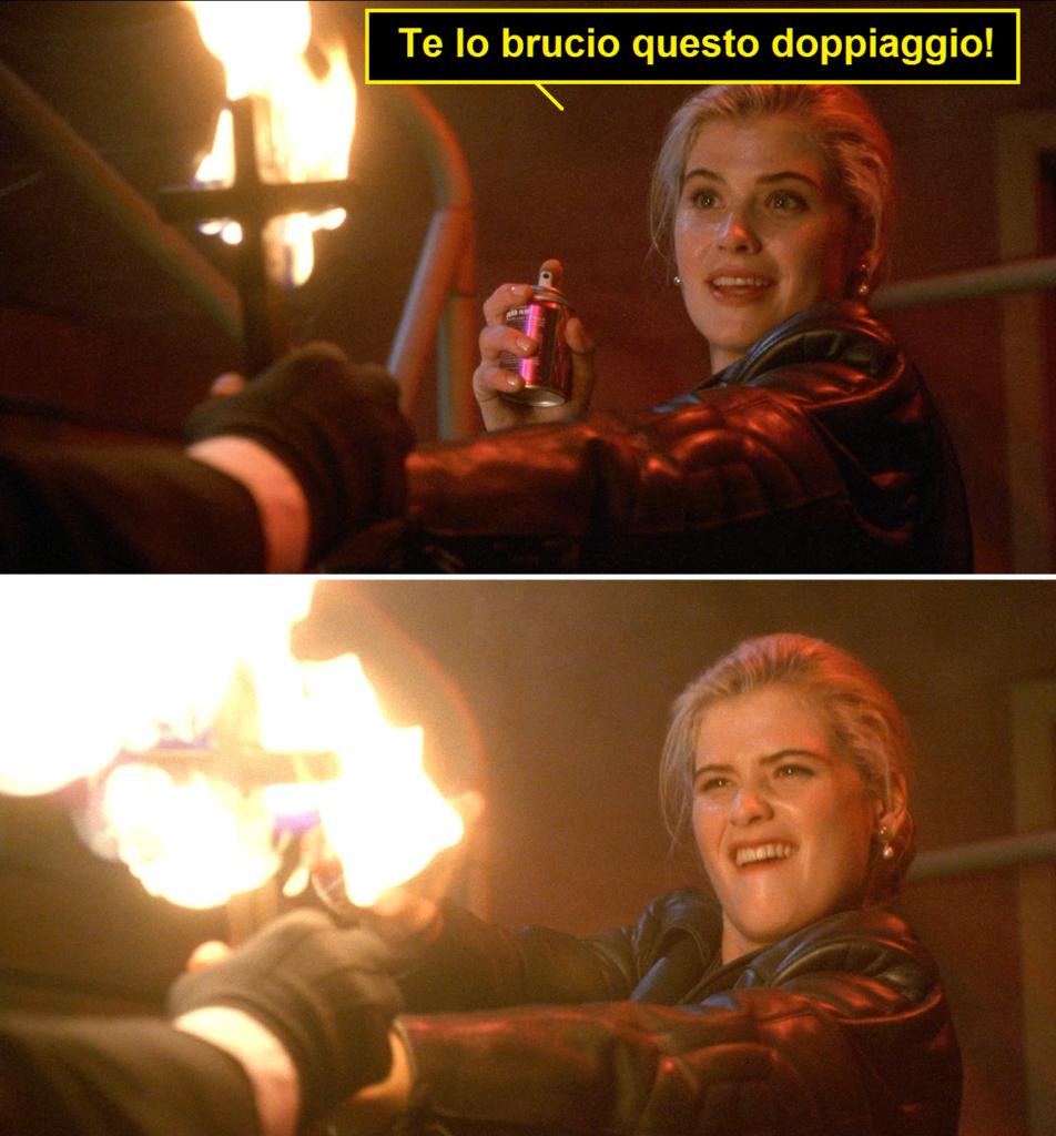 Scena dal film Buffy l'ammazzavampiri dove la protagonista usa una bomboletta spray e una croce in fiamme contro il vampiro. Nella vignetta dice: te lo brucio questo doppiaggio