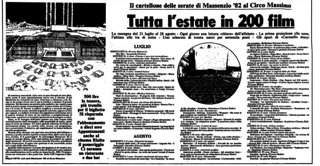 Ritaglio di giornale, cartellone delle proiezioni cinematografiche al Circo Massimo, nell'estate del 1982