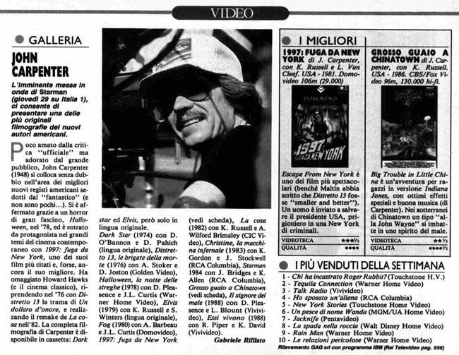 Ritaglio di giornale dal Radiocorriere marzo 1990 su John Carpenter e la VHS di Elvis il re del rock