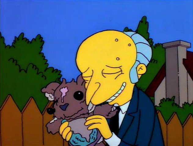 Il signor Burns con l'orsacchiotto Bobo, dai Simpson