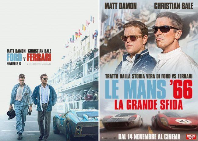ford v ferrari e Le mans 66 - la grande sfida, titolo e locandine poster a confronto