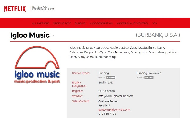 igloo music partner post produzione Netflix
