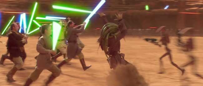 Jedi che combattono con spade laser nel film Star Wars Episodio II l'attacco dei cloni