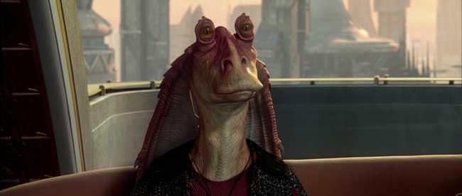 Jar Jar Binks in Star Wars Epsiodio II l'attacco dei cloni