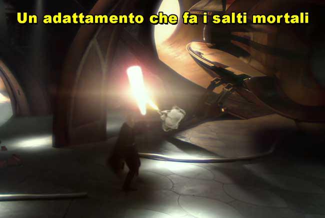 yoda che combatte contro Dooku dal film Star Wars Episodio II l'attacco dei cloni, la vignetta legge un adattamento che fa i salti mortali