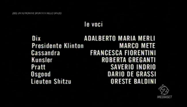 Cartelli italiani di 2001 un'astronave spuntata nello spazio: i doppiatori