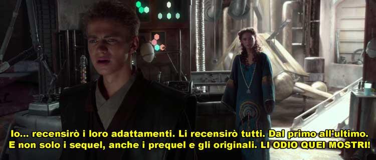 vignetta introduttiva con Anakin che promette di recensire l'adattamento di tutti i film di Star Wars inclusi prequel, sequel e originali